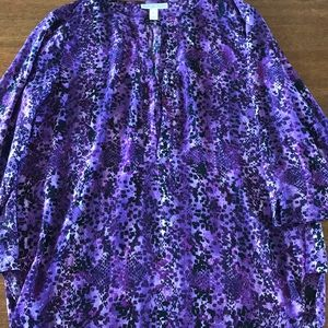 Ladies Blouse purple print Large